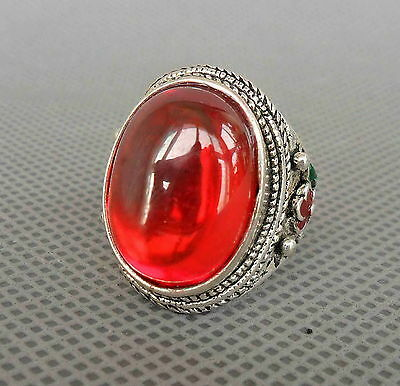 Chinese Handmade Ornament Miao Silver Inlay Red Crystal Flower Noble Lucky Ring