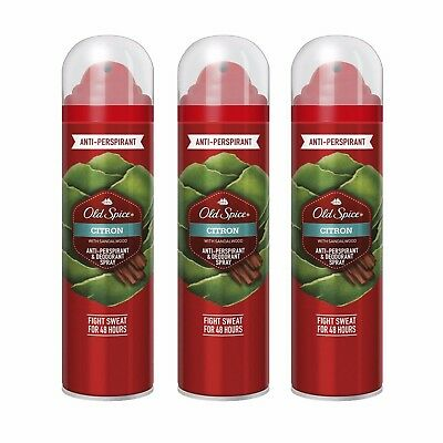 3 x Old Spice Citron Anti Perspirant Deodorant Body Spray Odour 3 Pack 125ml