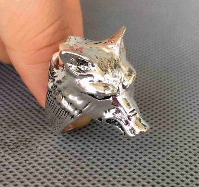 Chinese Handmade Decorative Miao Silver Carved Fierce Wolves Exorcism Lucky Ring