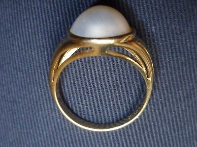 Vintage Heavy  9Ct Gold Mabe Pearl Statement Ring Size Q 1/2 9Ct 9K
