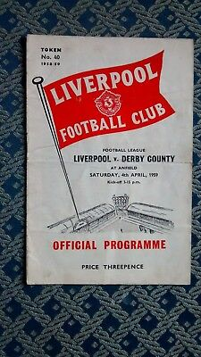 1958 - 1959 Liverpool v Derby County - Division 2 - 04/04/59