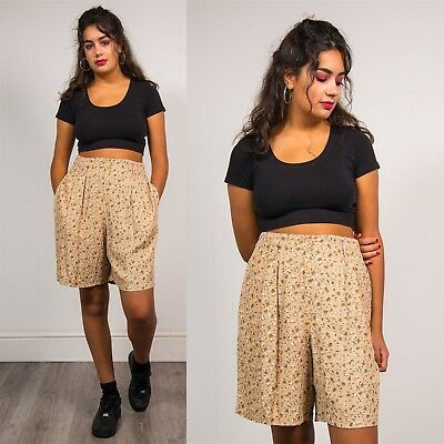 Womens 90S Vintage Dusty Pink Culottes Shorts Ditsy Floral Pattern High Waist 12