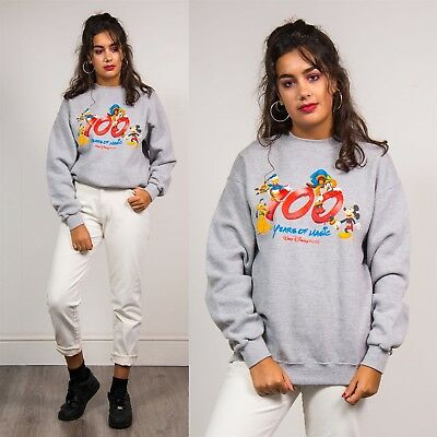 Womens 90's Grey Disney Vintage Graphic Sweatshirt Mickey Mouse Sweater  12 14