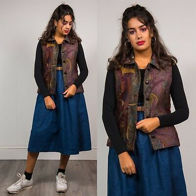 90's Vintage Collared Tapestry Womens Waistcoat Purple Vest Gilet Patterned 10