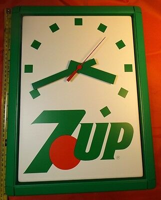 Vintage 7UP Plastic Clock 15.5 by 10 inches never used Advertising