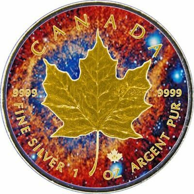 2017 1 Oz Ounce Canadian Silver Maple Leaf Coin .9999 Nebula Gold Gilded