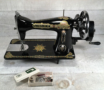 Modern SINGER Model 15 HAND CRANK Sewing Machine Indian Star Cleaned & Tested