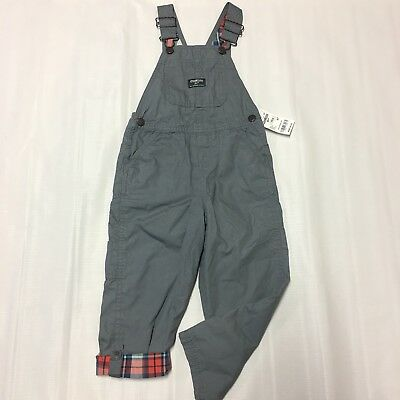 Toddler Boy Overalls Pants Sz 4T NWT New Gray Orange Plaid Adjust Casual Play