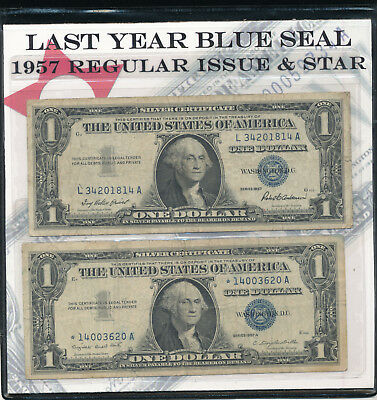 2 - Us Last-Year-Blue-Seal-1957-Silver Certificate $1.00 In Folder With Coa