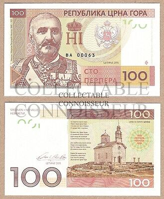 Montenegro 100 Perper 2015 UNC NEUF SPECIMEN Test Note Private Issue Banknote