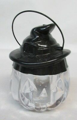 Vintage Halloween Pumpkin Witch Clear Plastic Candy Container