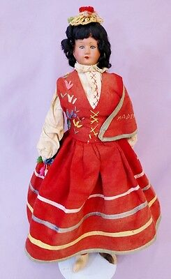 """21"""" FOREIGN COSTUME MADEIRA DOLL c1920 PORTUGAL"""