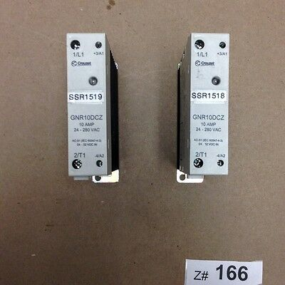 (1 Lot of 2) Crouzet GNR10DCZ Solid State Relay Din Rail 22.5mm 240VAC/10A.