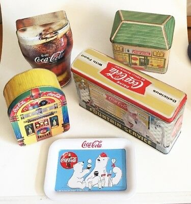 Lot 5 Vtg 1993 - 1998 Assorted Coca Cola Tins Advertising Promotional Souvenirs