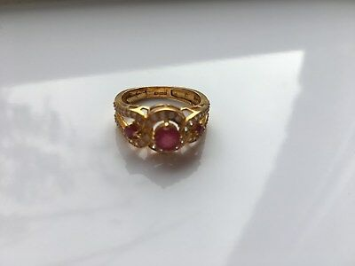 22ct Gold 916 Ring Ruby Size P weight 4,7g