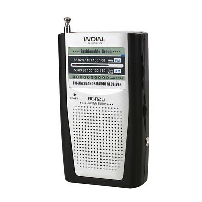 INDIN AM/FM Small Battery Pocket Radio New BC-R20