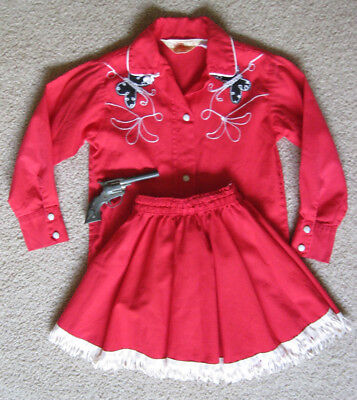Vtg J Bar T Childs Cowgirl Outfit Red Western Shirt Fringed Skirt Butterfly gun