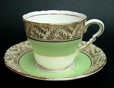 1950's Royal Stafford 8206 Apple Green 180ml Tea Cups & Saucers - Look in VGC
