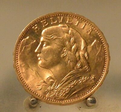 1930 Switzerland Gold 20 Francs .1867 OZ Actual Gold Weight, Old Gold Coin