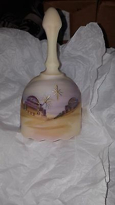 fenton art glass burmese bell handpainted perfect condition in box