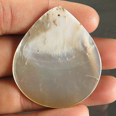 Natural Royal MOTHER OF PEARL 46x39 mm PEAR FLAT DRILLED Big Gemstone 39.90 Cts