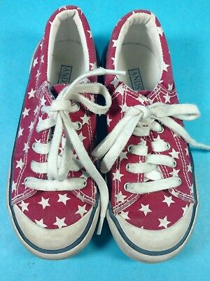 lc Vintage Girls Shoes Lands End Sneakers Lace Up Size 13 Red White Stars