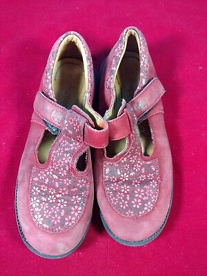 lc Vtg Girls Shoes Red/Pink Flowers Elefanten Size 30 Wide hook & loop Mexico