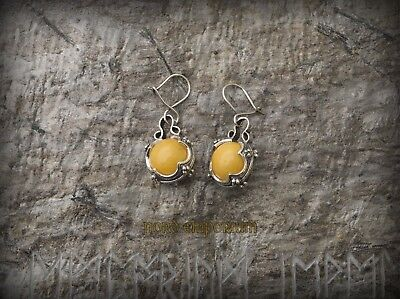 Gotland Earrings Yellow Amber 12mm Sterling Silver