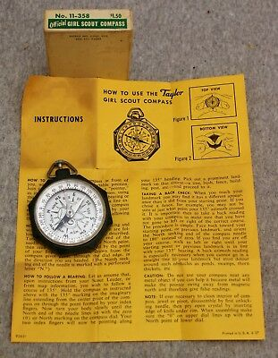 Vintage Offical Girl Scout Compass No.11-358  In Box W/  Instructions