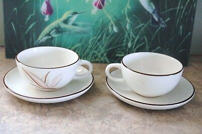 """Winfield Handcraft China - DRAGON FLOWER - Coffee Cups & 5 3/4"""" Saucers (2 each)"""
