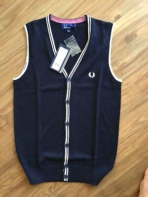 NWT AUTH Fred Perry Men Navy Contrast Tipped Crepe Tank Top Sz XS MSRP $95