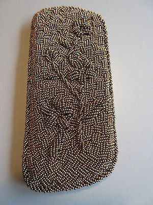 Vintage 50s.: Bronze Beaded Eyeglasses Case / Silky Lined Pouch  Flowers Pattern