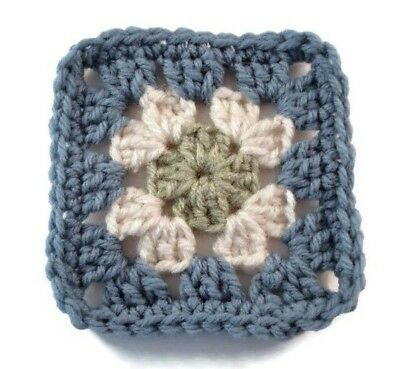 "Crochet Granny Squares 20 Pieces 4"" Country Blue Sage Green Ecru"
