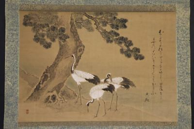 """JAPANESE HANGING SCROLL ART Painting """"Cranes under the Pinetree""""  #E8114"""