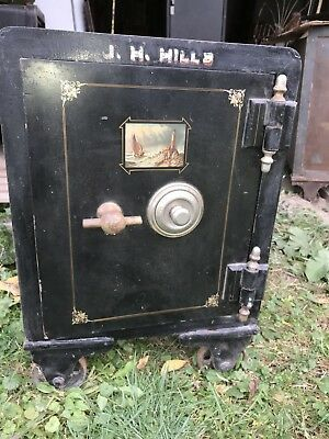 Antique Iron Floor Safe Vulcan Safe Co  Great Maritime Painting
