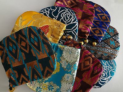 "Brocade Handmade Pouches Jewlery Gift Coin Bags 4"" x 4"" LOT OF 5 assorted"