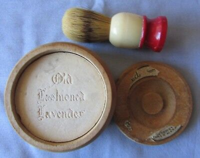 Vintage Ever-Ready Shaving Brush & Old Fashioned Lavendar Soap In Wood Box