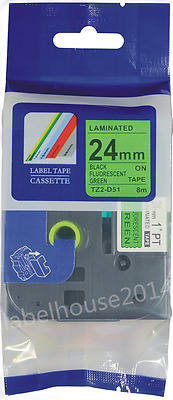 Compatible Brother TZ D51 Black on Fluo Green Label Tape For P-Touch TZe-D51 8m