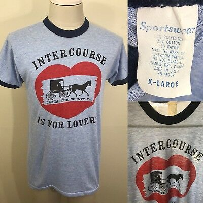 VTG 80s Tri-Blend Intercourse Is For Lovers PA Ringer T Shirt Men's L/XL Tee 70s