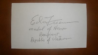 Autograph MOH: Major Ed Freeman, USA, Medal of Honor, DFC, BSM, PH, Vietnam CMH