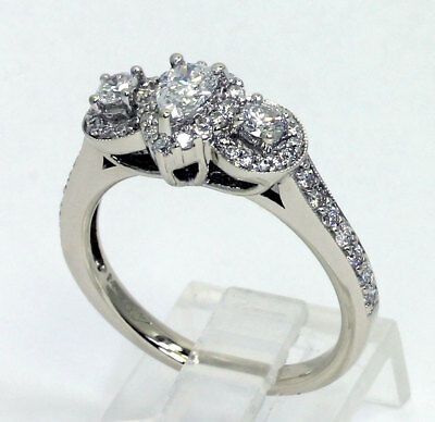 Diamond 3 stone halo engagement ring 14K white gold pear round brilliant 1.05CT!