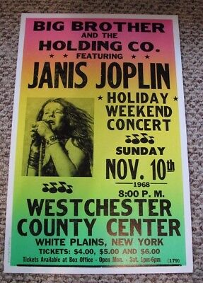 Vintage JANIS JOPLIN & The BIG BROTHER HOLDING CO Band Concert Poster 1968 NY