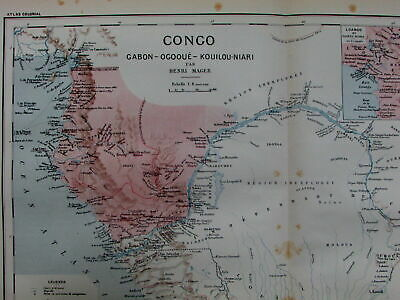 Congo River Gabon Brazzaville Loango French Africa colonies c.1890 old Bayle map