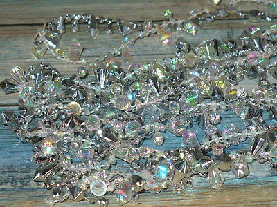 Vintage Plastic Opalescent & Silver CHRISTMAS TREE Beaded Garland 9 ft