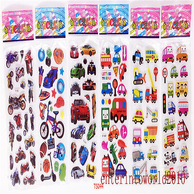 6Pcs 3D PVC Puffy Car crafts stickers teacher reward stickers lot Kid party gift