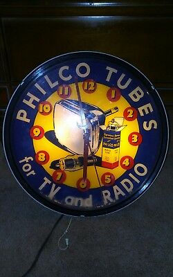"Vintage 1950s Philco ""Tubes for Tv & Radios"" Advertising Plastic Clock 16"""
