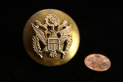 """Vintage Brass Military Button - US Eagle Emblem with Shield - 1 5/8"""""""
