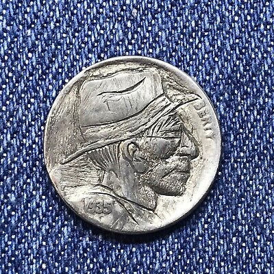 "1935 Hand Carved Original Hobo Nickel One Of A Kind! ""Uncle Wilson"""