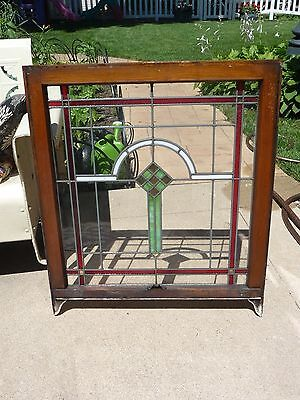 "Antique 1920s Chicago Bungalow Stained Leaded Glass Window 32.5"" by 28"""