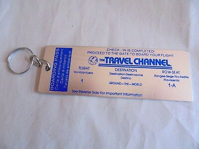Vintage The Travel Channel Around the World Boarding Pass Advertising Keychain